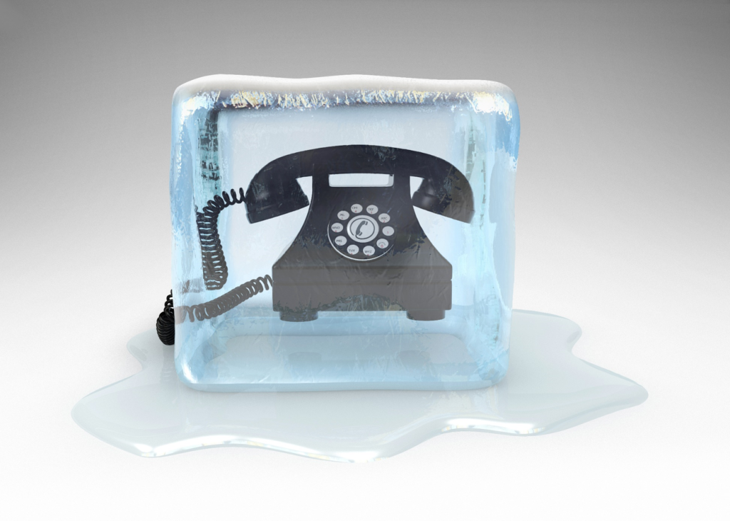 Cold call Image of telephone in block of ice